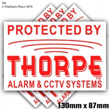 1 x 130mm Thorpe AlarmTM and CCTV Systems Design Red on White EXTERNAL Stickers-Alarm System Installed-Security Warning Stickers-Self Adhesive Vinyl Signs